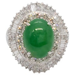 Estate Green Jade Oval Cabochon and White Diamond Cocktail Ring in Platinum