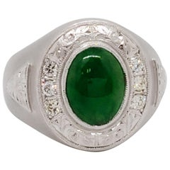 Estate Green Jade Oval Cabochon and White Diamond Men's Ring
