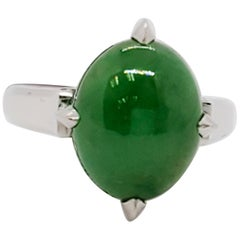 Estate Green Jade Oval Cabochon Dome Ring in Platinum