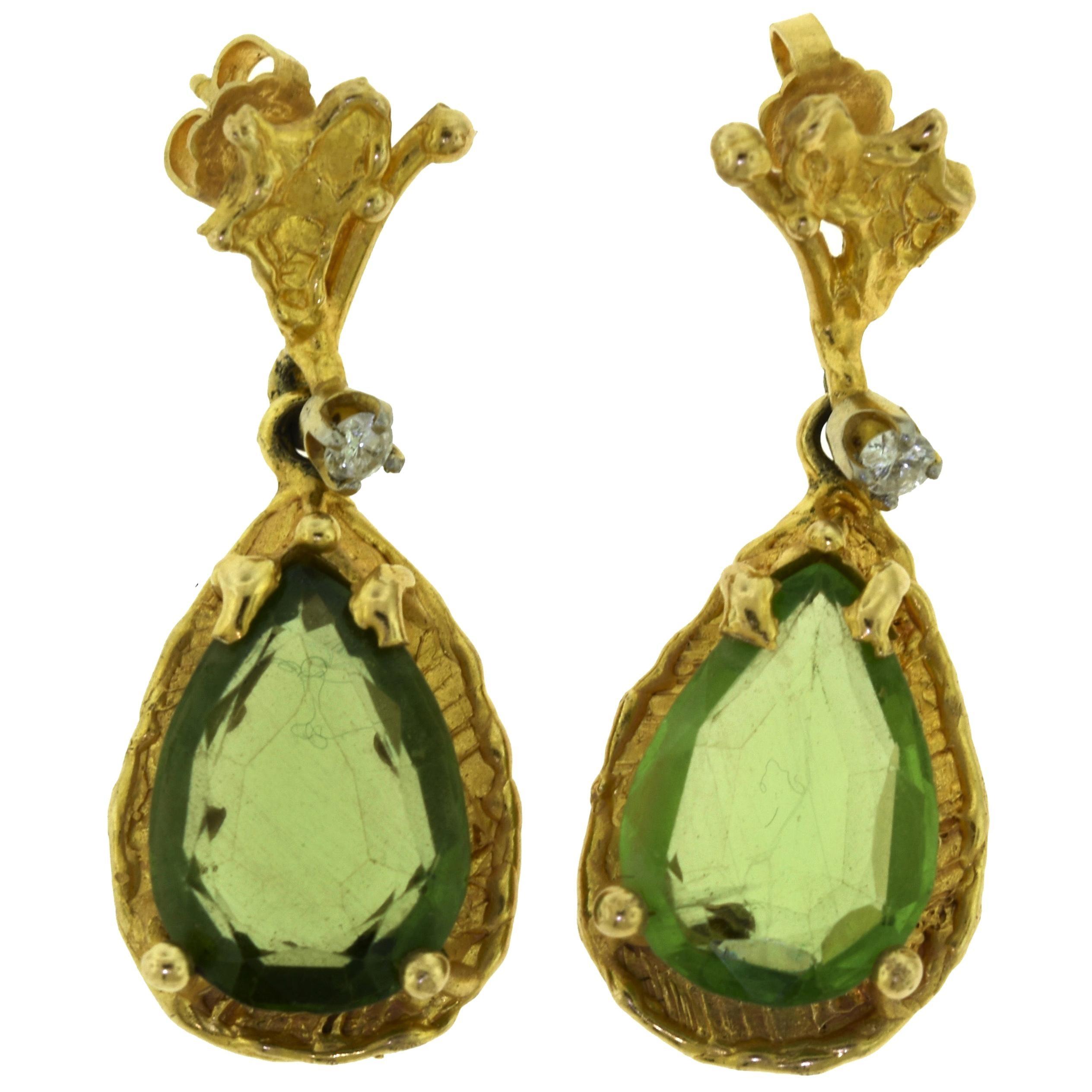 Estate Green Tourmaline and Diamond Yellow Gold Drop Earrings