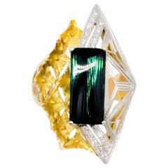Estate Green Tourmaline and White Diamond Cocktail Ring in 18 Karat and Platinum