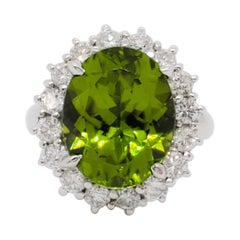 Estate Green Tourmaline and White Diamond Cocktail Ring in Platinum