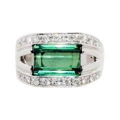 Estate Green Tourmaline and White Diamond Ring in Platinum