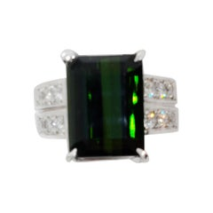 Estate Green Tourmaline Emerald Cut and White Diamond Ring in Platinum