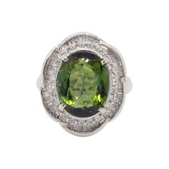 Estate Green Tourmaline Oval and White Diamond Cocktail Ring in Platinum