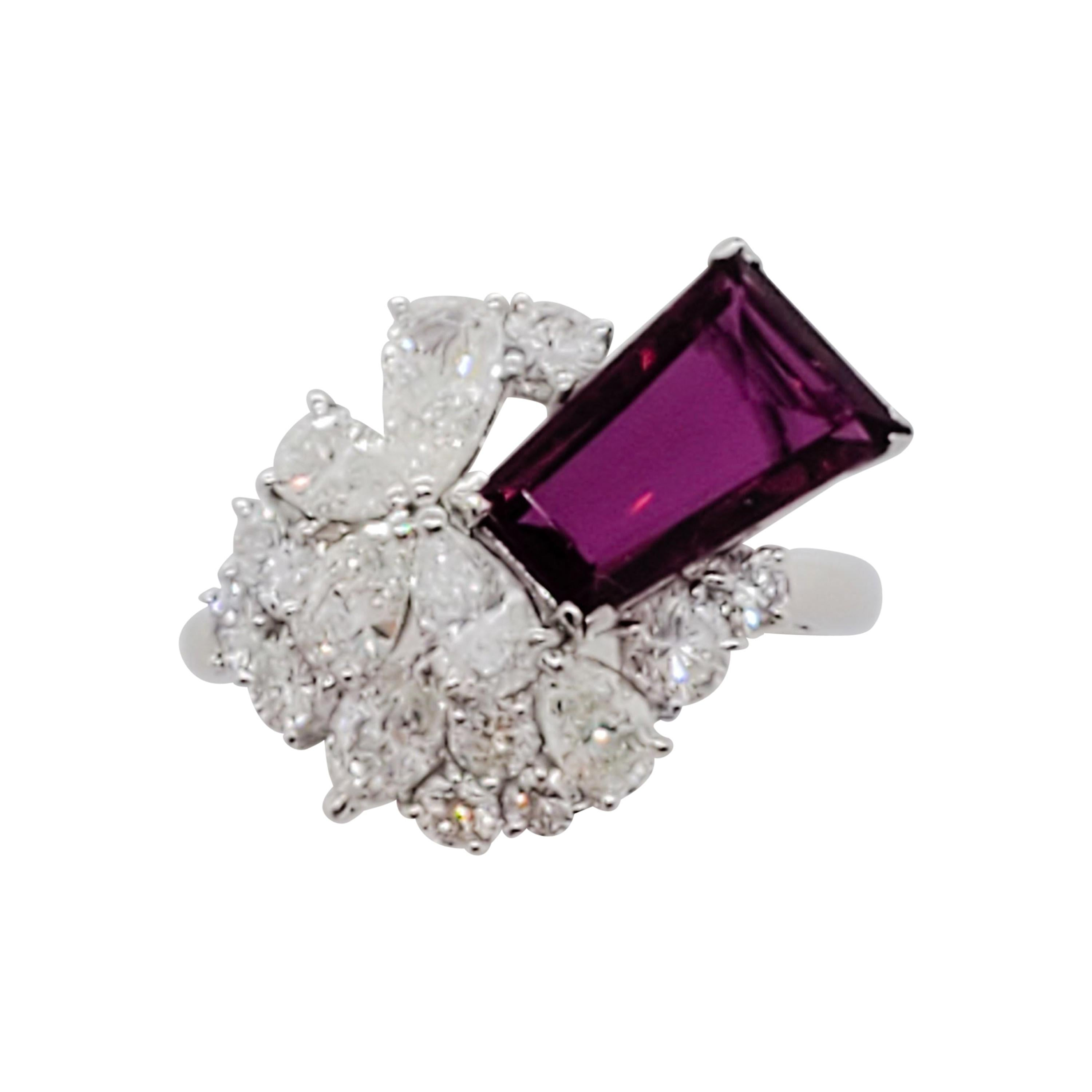 Estate GRS Ruby and White Diamond Cocktail Ring in Platinum
