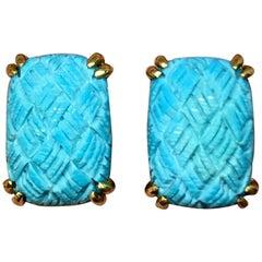Estate Gump's Designer 18 Karat Gold Carved Turquoise Earrings