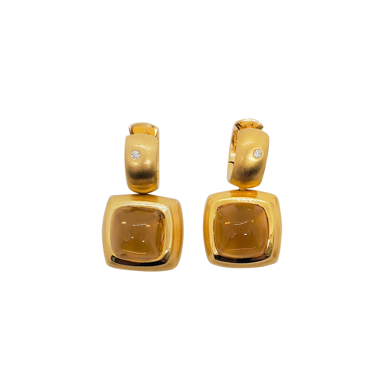 Estate H. Stern Citrine and Diamond Detachable Dangle Earrings in 18k