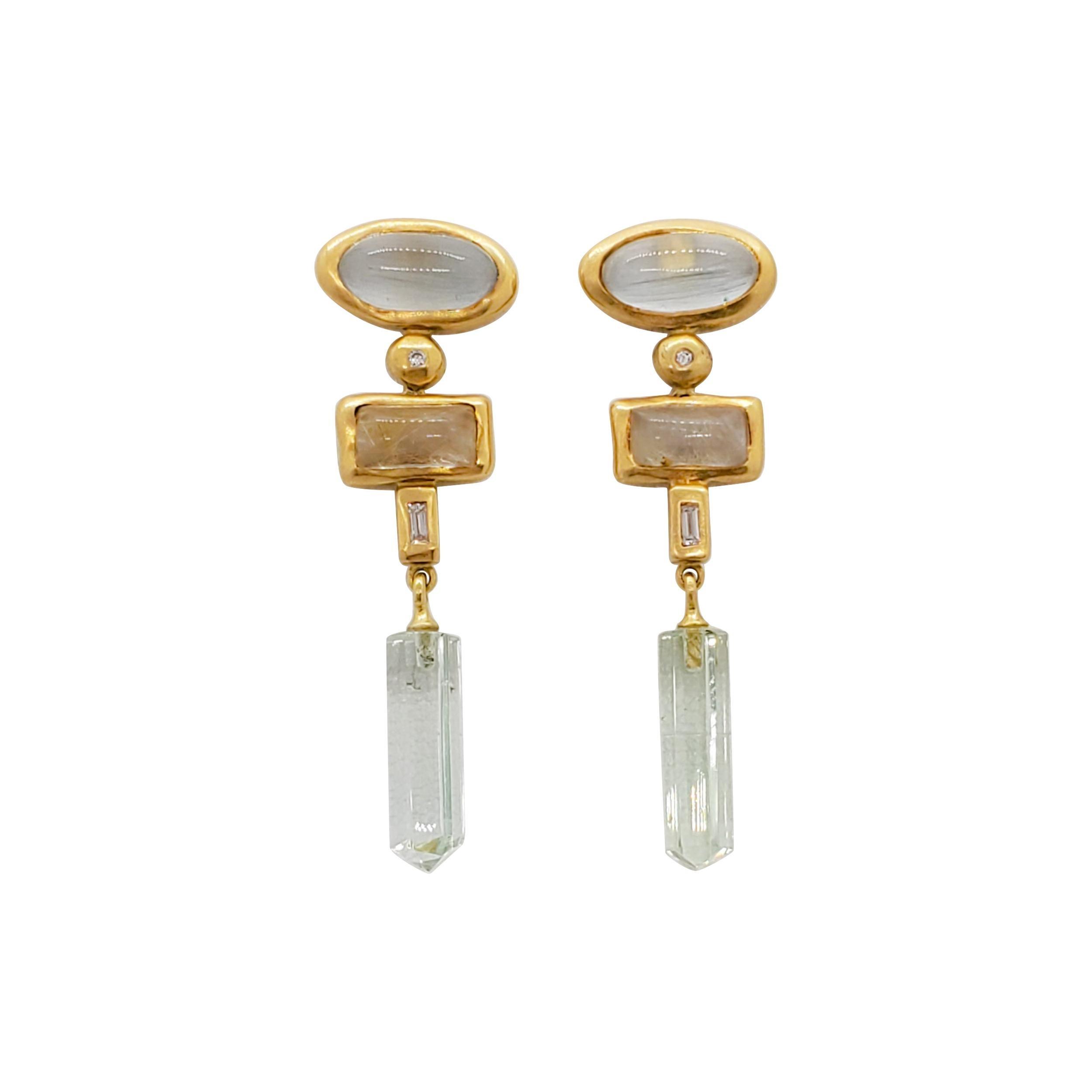 Estate H. Stern Green Stone Dangle Earrings in 18k Yellow Gold