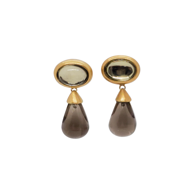 Estate H. Stern Smoky Quartz Dangle Earrings in 18k Yellow Gold