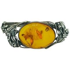 Estate Handcrafted Amber Garden Design Bangle Bracelet is an Original Sterling
