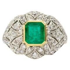 Estate Handmade Platinum Emerald and Diamonds Ring