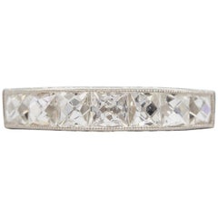 Estate Handmade Platinum French Cut Diamond Band