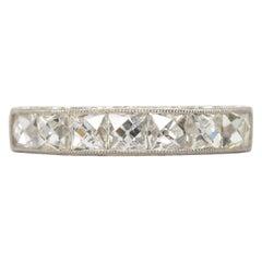Estate Handmade Platinum French Cut Diamonds Band