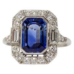 Estate Handmade Platinum Sapphire and Diamond Ring