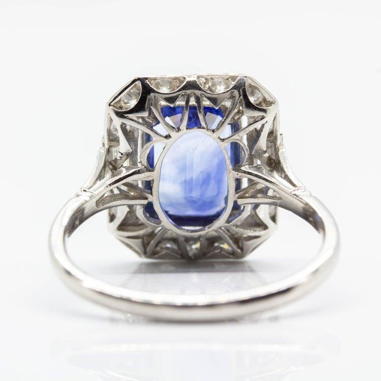 Art Deco Estate Handmade Platinum Sapphire and Diamonds Ring For Sale