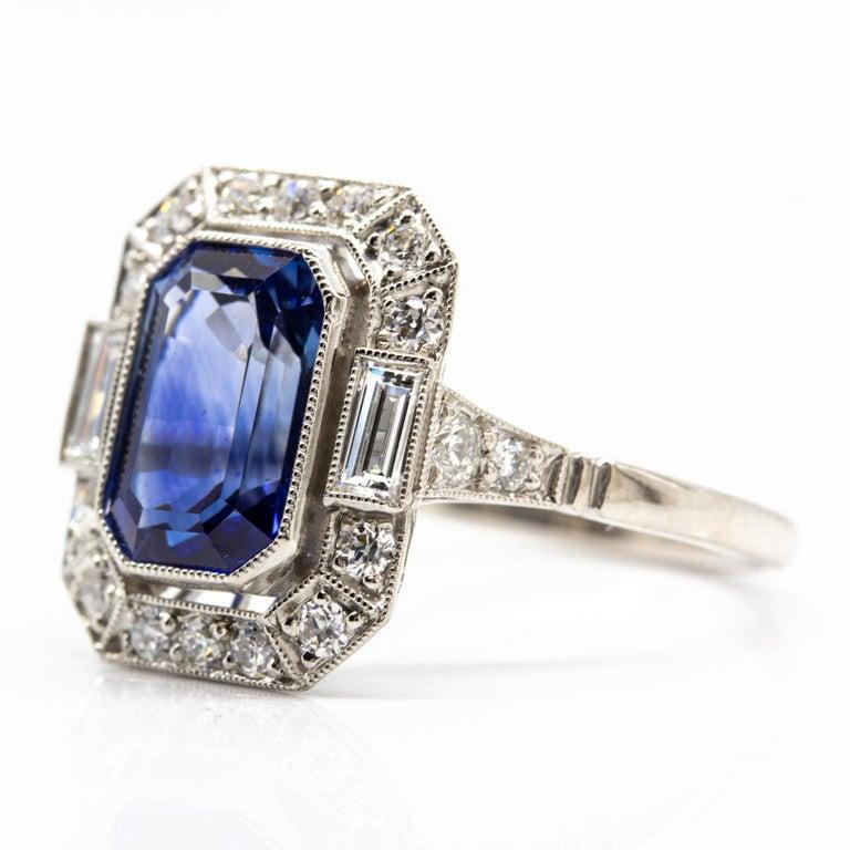 Old Mine Cut Estate Handmade Platinum Sapphire and Diamonds Ring For Sale