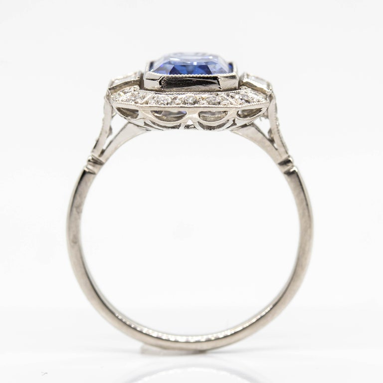 Women's or Men's Estate Handmade Platinum Sapphire and Diamonds Ring For Sale