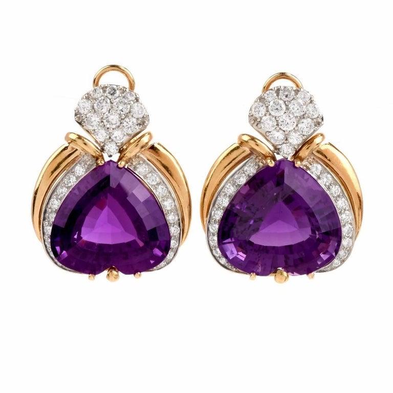 Heart Shape Amethyst Diamond Yellow Gold Clip-Back Earrings
