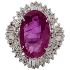Estate Heated Purplish Pink Sapphire Oval and White Diamond Cocktail Ring