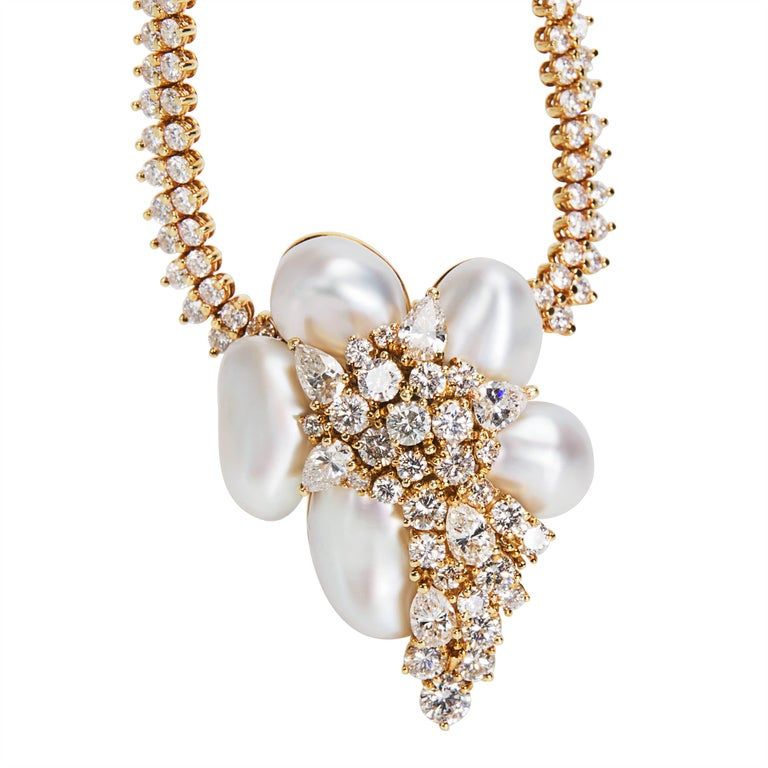 Henry Dunay Diamond Baroque Pearl Necklace