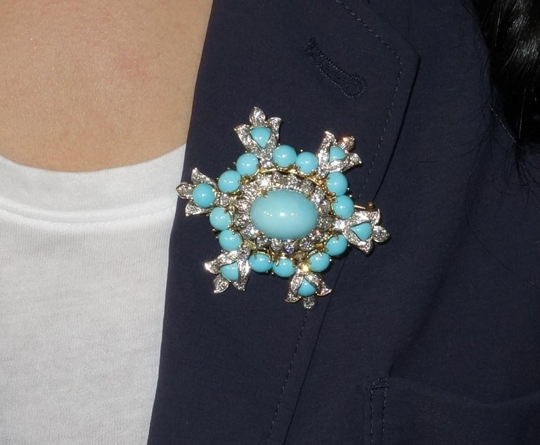 Exquisite Vintage Henry Dunay, Turquoise and Diamonds are securely nestled in Hand crafted Platinum and 18 Karat Yellow Gold mounting. This Stylish & Beautiful Estate Brooch is in excellent condition and was recently professionally cleaned and