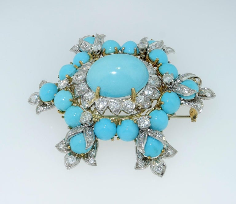 Estate Henry Dunay Turquoise Diamond Pin Platinum 18K Gold Fine Designer Jewelry In Excellent Condition For Sale In Montreal, QC