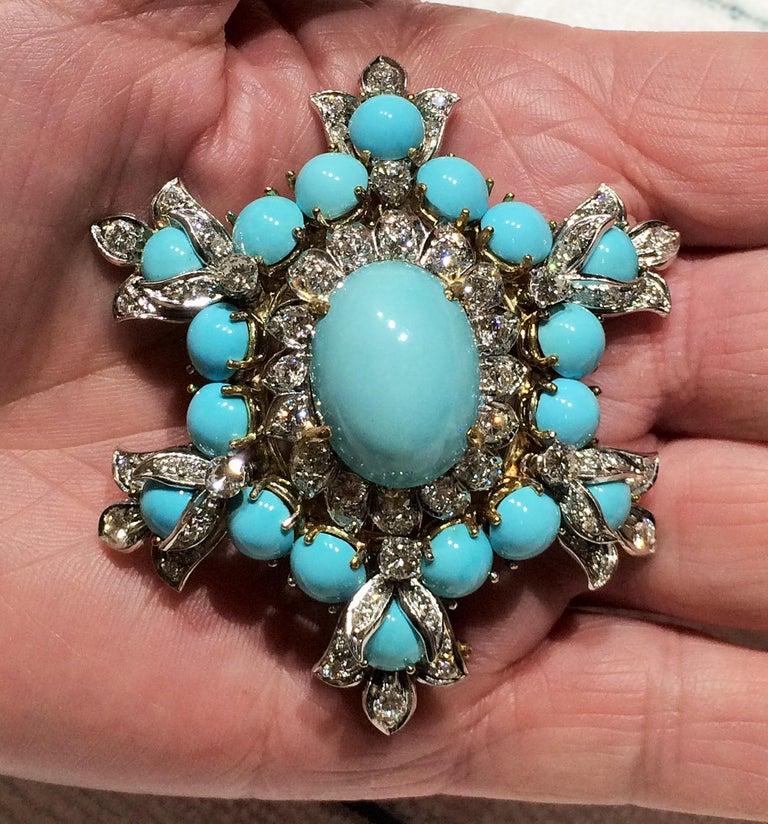 Modernist Estate Henry Dunay Turquoise Diamond Pin Platinum 18K Gold Fine Designer Jewelry For Sale