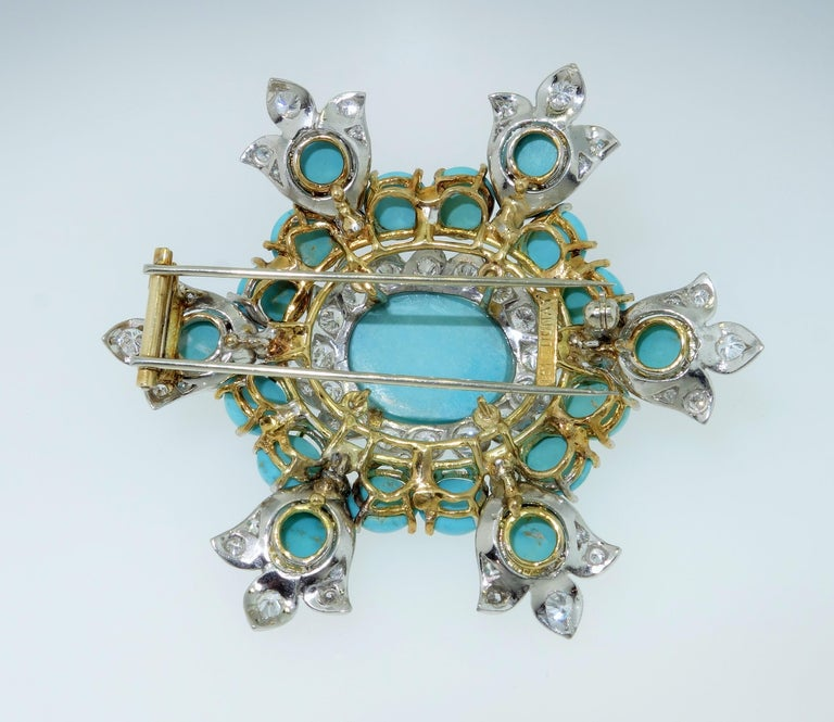 Women's or Men's Estate Henry Dunay Turquoise Diamond Pin Platinum 18K Gold Fine Designer Jewelry For Sale