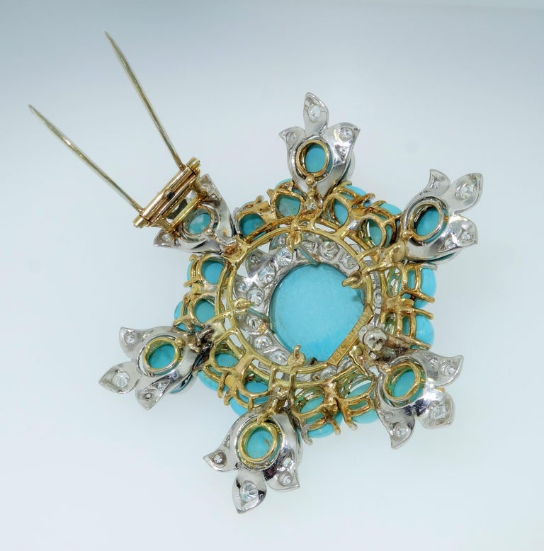 Estate Henry Dunay Turquoise Diamond Pin Platinum 18K Gold Fine Designer Jewelry For Sale 1