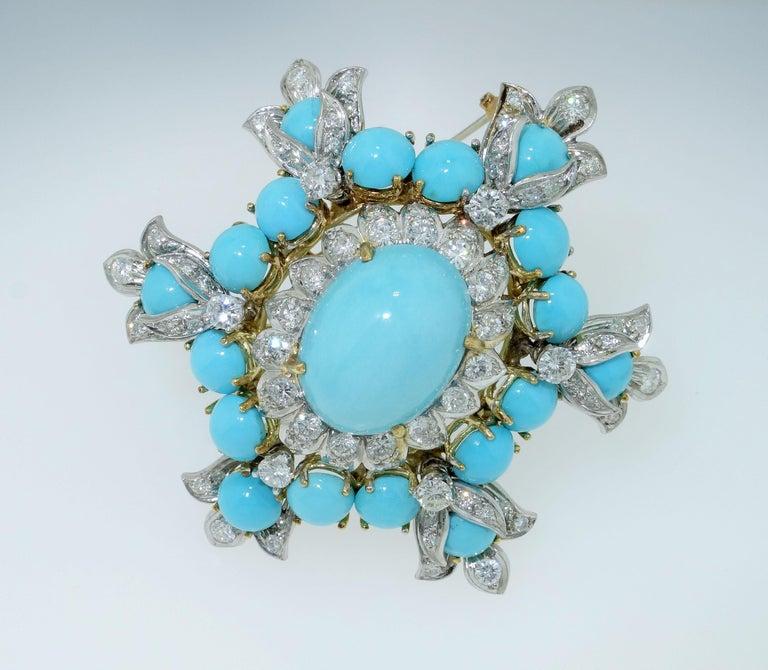 Estate Henry Dunay Turquoise Diamond Pin Platinum 18K Gold Fine Designer Jewelry For Sale 2