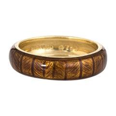 Estate Hidalgo Band 18 Karat Yellow Gold Bronze Ring Brown Enamel