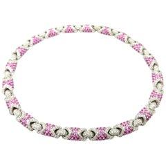 Estate High End 18 Karat Gold Diamond and Pink Sapphire Pave Necklace Choker