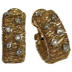 Estate Huggie Clip-On Earrings 14 Karat Yellow Gold Diamond