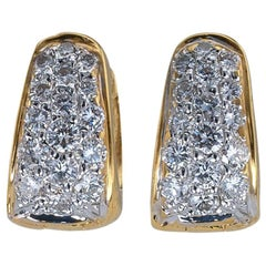 Estate Huggy Diamond Yellow Gold Earrings