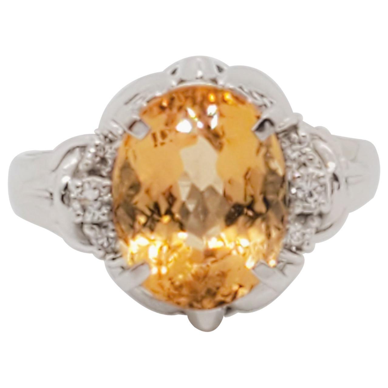 Estate Imperial Topaz and White Diamond Cocktail Ring in Platinum