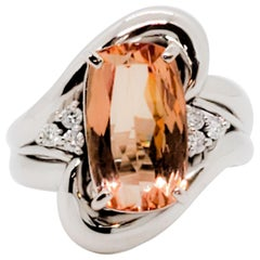Estate Imperial Topaz Cushion and White Diamond Cocktail Ring in Platinum