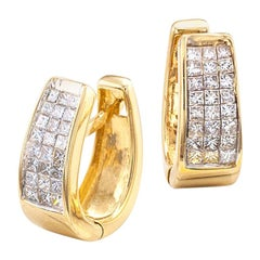 Estate Invisibly Set Princess Cut Diamond Yellow Gold Hoop Earrings