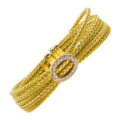 Estate Italian 14k Yellow Gold Five-Cable Bracelet with 32 Diamonds