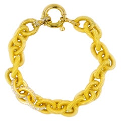 Estate Italian 18k Yellow Gold Open-Link Bracelet w/ 138 Diamonds