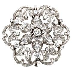 Estate Italian 5.50 Carat Diamond Gold Brooch