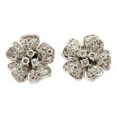 Estate Italian Designer Leo Pizzo 2.50Ct 18K Round Flower Pave Diamond Earrings