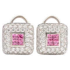 Estate Italian Diamond Pink Sapphire 18 Karat Omega Clip Earrings