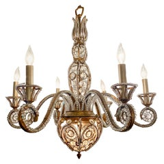 Estate Italian Iron and Tole Beaded Crystal Chandelier, circa 1920
