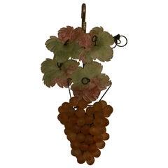 Estate Italian Purple and Green Colored Venetian Glass Grape Pendant Light