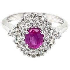 Estate Italian Ruby Diamond Engagement Ring