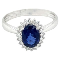 Estate Italian Sapphire Diamond Engagement Ring