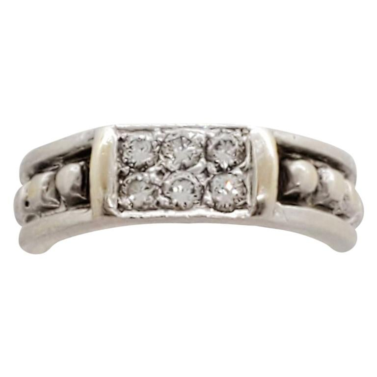 Estate Judith Ripka White Diamond Ring in 18 Karat White Gold