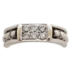 Estate Judith Ripka White Diamond Ring in 18 Karat White Gold