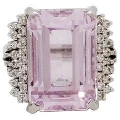 Estate Kunzite and White Diamond Cocktail Ring in Platinum